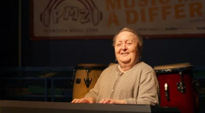 Pat Tansell at the piano at Plymouth Music Zone (2019) before Covid-19