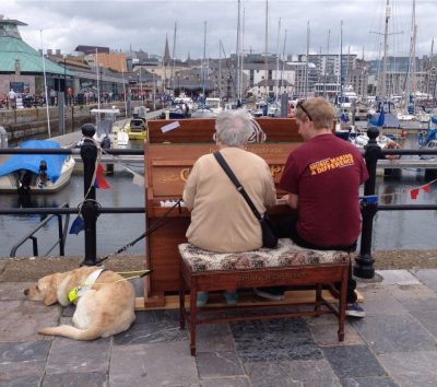 Pat Tansell & Dave England playing a piano duet on Plymouth Barbican as part of PMZ's 'Piano for a Day' event (July 2015)